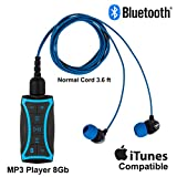 100% Waterproof Stream MP3 Music Player with Bluetooth and Underwater Headphones for Swimming Laps, Watersports, Normal Cord, 8GB - by H2O Audio