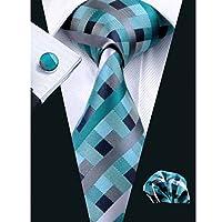 SN-553 Men's 100% Jacquard Woven Silk Neckties Tie handkerchief Cufflinks Sets
