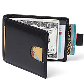 Huztencor RFID Blocking Credit Card Holder Wallet Bifold Slim Genuine Leather Thin Minimalist Front Pocket Wallets for Men Money Clip Black