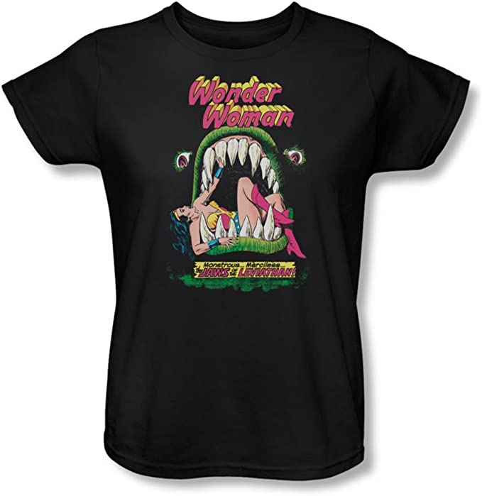 TALLA M. Dc Comics - - Mandíbulas de la Mujer T-Shirt En Negro