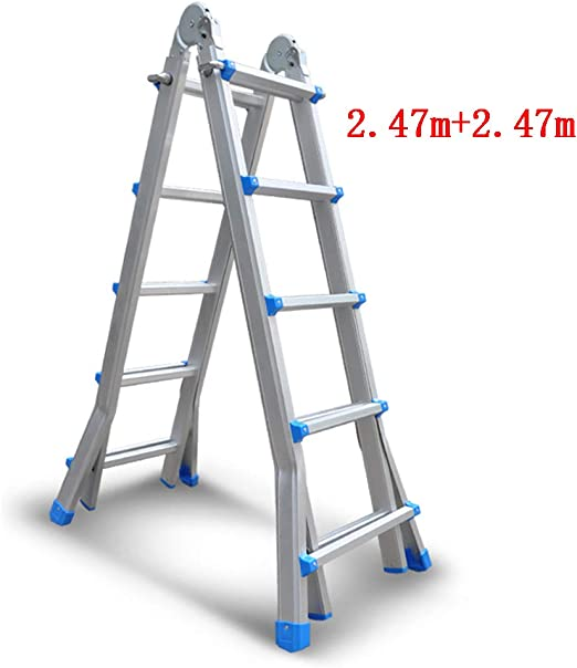 CAIJUN Escalera Telescópica Multifunción Plegable Portátil Desmontable Espesar Aleación De Aluminio La Seguridad, 4 Tamaños (Tamaño : C-2.47m+2.47m): Amazon.es: Hogar