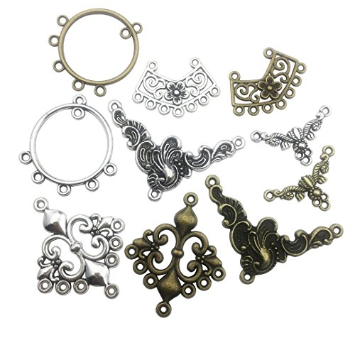 Connector Charm Collection-100g About 50pcs Craft Supplies Charms Pendants for Crafting, Jewelry Findings Making Accessory for DIY Necklace Bracelet Earrings (Links Connector Charms)