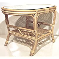 Pelangi Coffee Oval Table with Glass Top Natural Rattan Wicker ECO Handmade Design, Cream