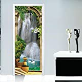 wallpaper door murals - 3D Waterfall Door Wall Mural PVC Wallpaper Stickers Home Living Room Wall Art Decor Wallpaper