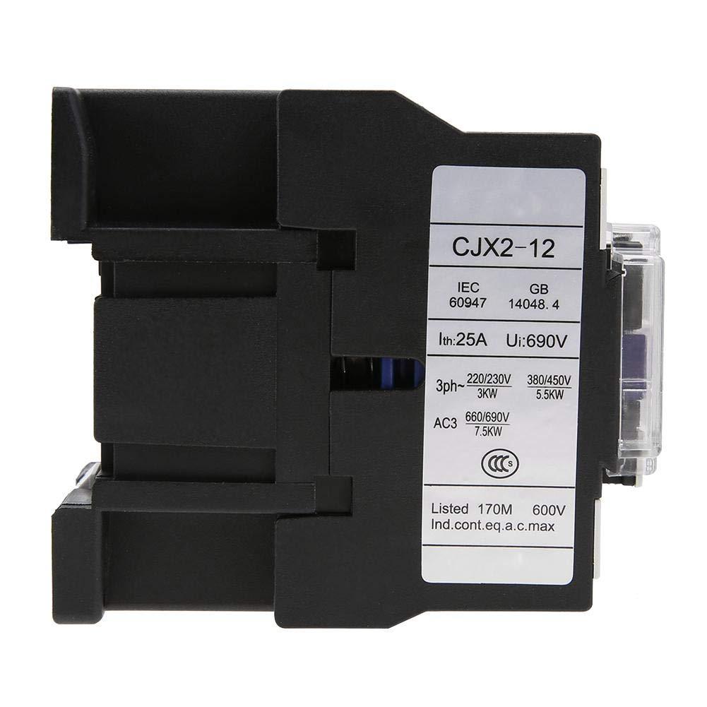 220V 12A Industrial Electric AC Contactor CJX2-1210 Interruptor de alimentaci/ón de motor de alta sensibilidad instalaci/ón fija y tipo riel