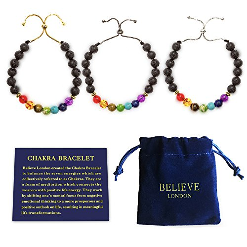 - Believe London Chakra Bracelet with Jewelry Bag & Meaning Card | Adjustable Bracelet to Fit Any Wrist | 7 Chakra Natural Stone | Healing Reiki Yoga (Black Chain Bracelet)