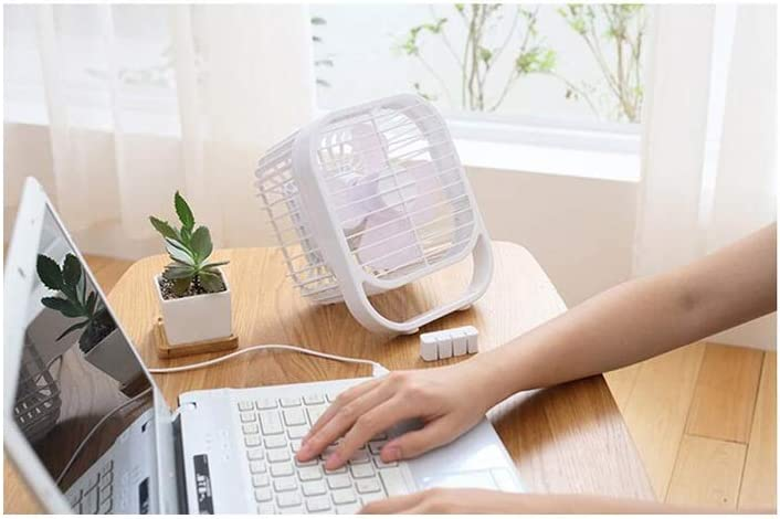 HongTeng USB Plug-in Small Fan Mute Portable 8 Inch Strong Wind Four-Leaf Fan Student Dormitory Office Home White