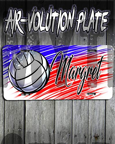 Personalized Airbrush Volleyball License Plate Tag