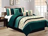 7-Pc Fez Lattice Geometric Quatrefoil Embossed Embroidery Pleated Comforter Set Teal Green Khaki Black Queen
