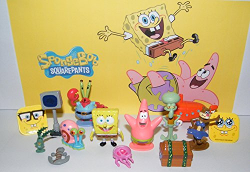 SpongeBob and Friends Deluxe Party Favors Goody Bag Fillers Set of 14 with 12 Figures and 2 ToyRings Featuring SB, Gary, Patrick. Jellyfish, Treasure Chest and More!