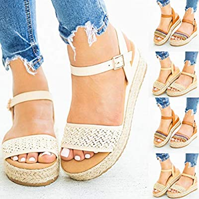 Gibobby Platform Shoes for Women, Ladies Open Toe Bohemia Weaving Sandals Ankle Strap Buckle Sandal Wedges Shoes at  Women's Clothing store
