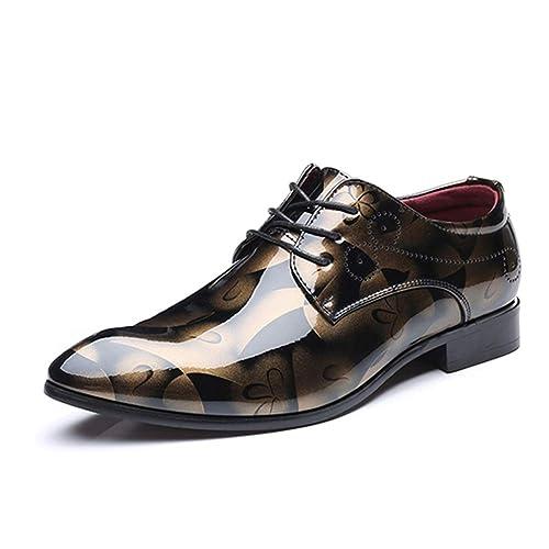 Gtagain Cordones Derby Cuero Zapatos Hombre - Formales PU Floral Zapatilla Vestir Boda Calzado Negocios Oficina: Amazon.es: Zapatos y complementos