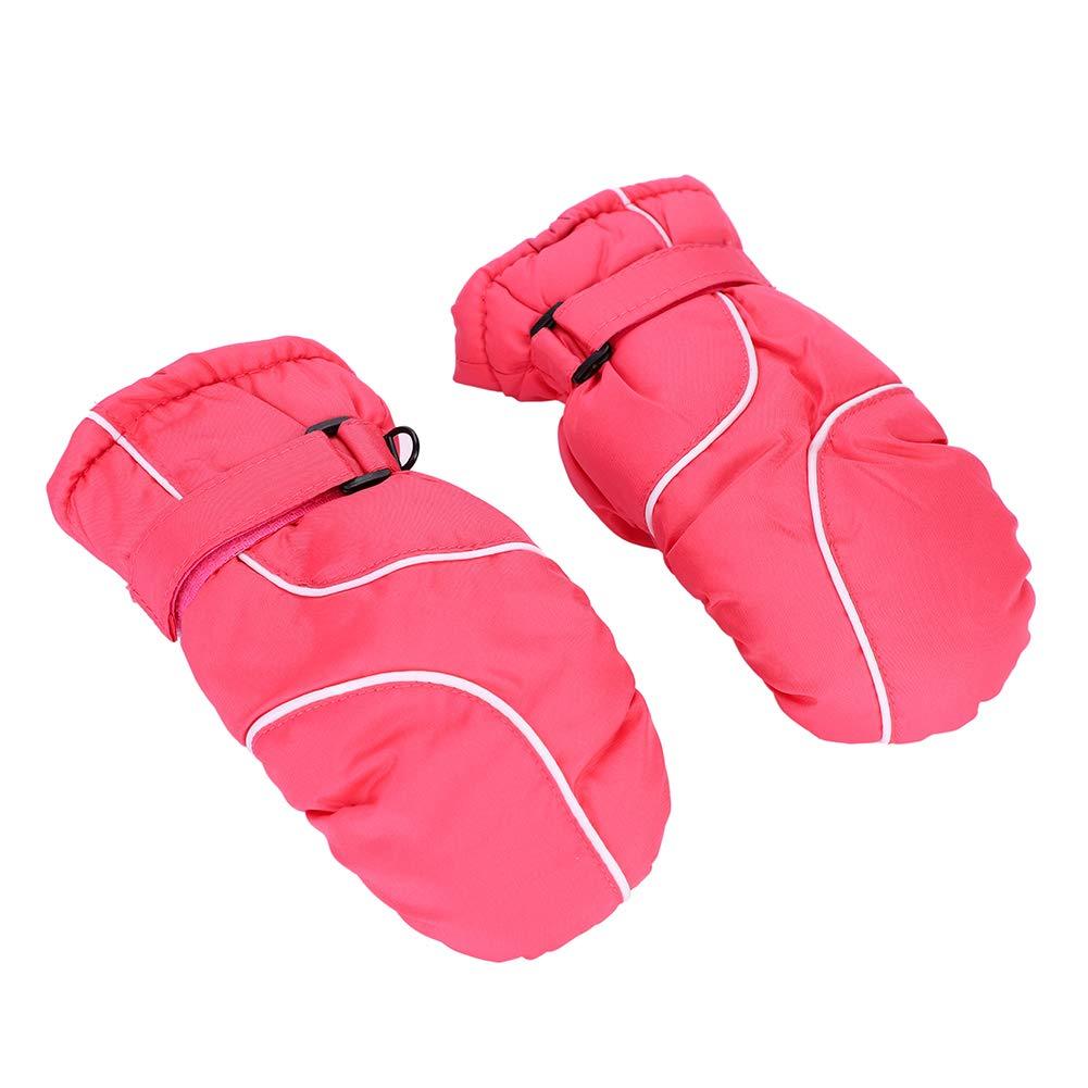 ITODA Kids cute sci guanti isolamento termico, anti neve da sci impermeabile antivento guanti da sci snowboard guanti termici invernali caldi guanti per sci ciclismo pattinaggio e altri sport, Red
