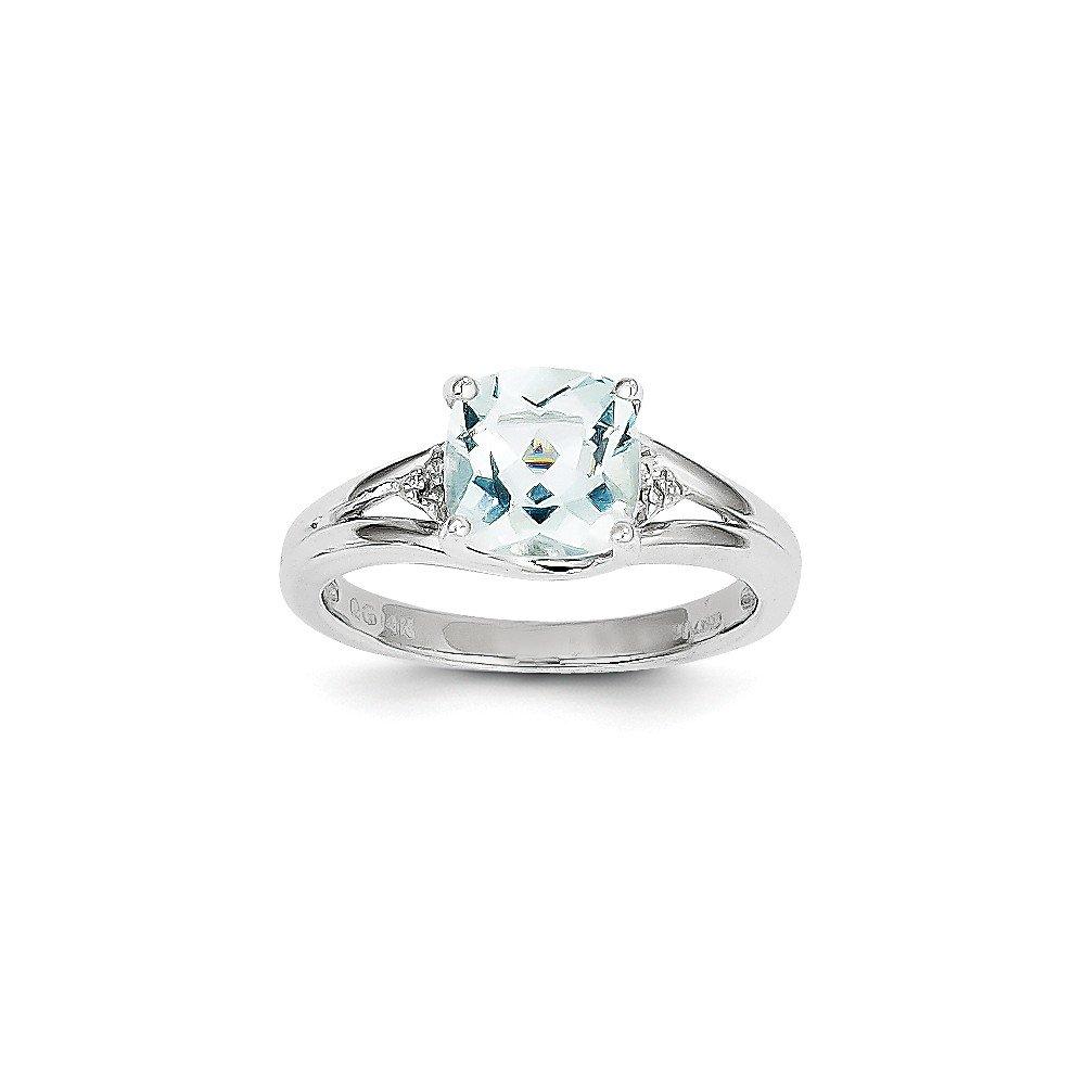 14k White Gold Aquamarine and Diamond Ring / Diamond Ctw. 0.03, Gem Ctw.2.16