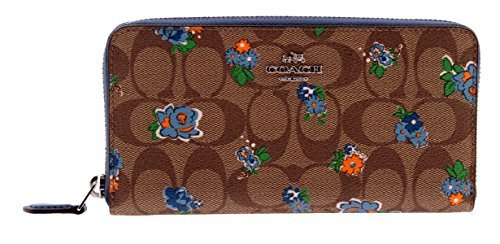 Coach Floral Printed Signature Zip Around Accordion Wallet, F56496 (Brown/Red Multi) by Coach