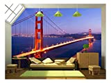 wall26 - Golden Gate Bridge at Twilight. San Francisco, Usa. - Removable Wall Mural | Self-adhesive Large Wallpaper - 66x96 inches