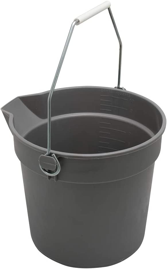 Prime-Line MP46750 Bucket with Handle and Spout, 10-Quart, Plastic, Gray, Rugged, Heavy Duty, Pack of 1