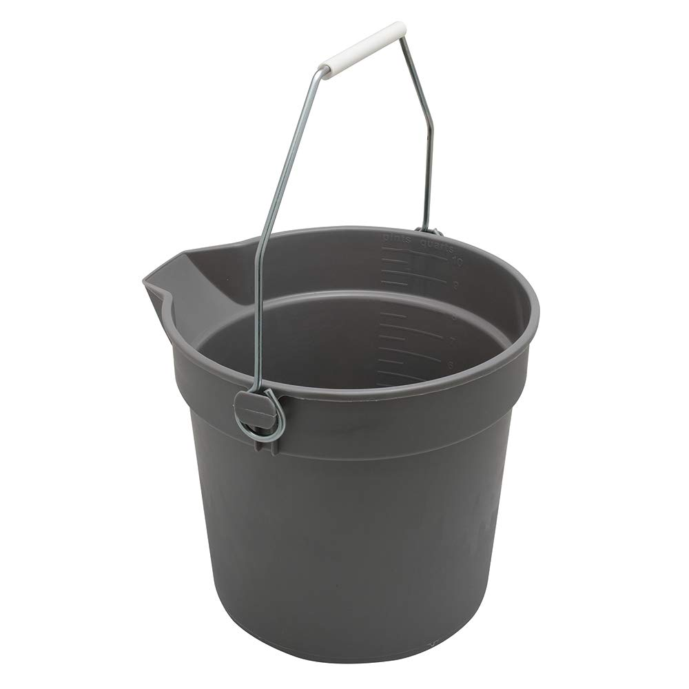 Bucket with Handle and Spout, 10-Quart, Plastic, Gray, Rugged, Heavy Duty, Pack of 1