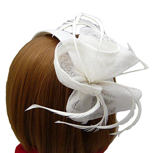 HATsanity Women's Blossom Sinamay Cóctel Banda Para el Cabello Fascinador Blanco