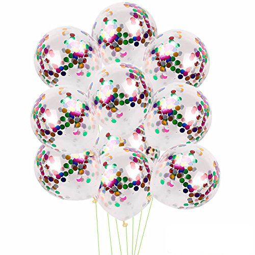 Gotian 10pcs 12 Inch Multicolored Foil Latex Confetti Balloon Set Wedding Birthday Baby Shower Wonderful Gift (Multicolor)