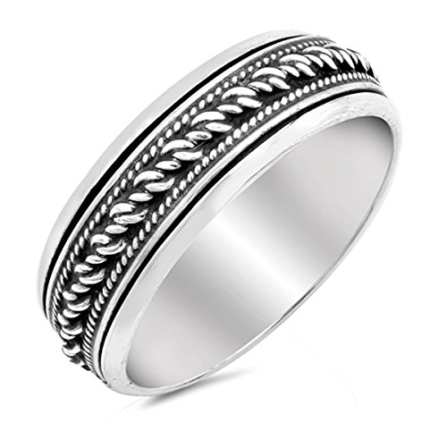 Rope Spinner Ring - Prime Jewelry Collection Sterling Silver Women's Bali Rope Spinner Ring (Sizes 6-13) (Ring Size 9)