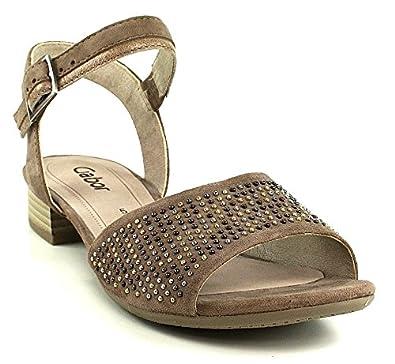 Fashion Gabor Dark Druckknopf Grau Sandale Nieten Nude 0POnXw8k