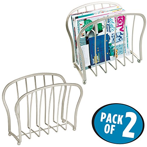 mDesign Decorative Modern Magazine Holder, Organizer - Standing Rack for Magazines, Books, Newspapers, Tablets in Bathroom, Family Room, Office, Den - Pack of 2, Satin Wire by mDesign