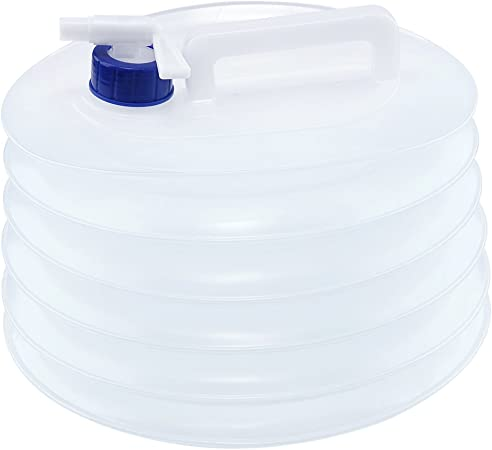 Portable Collapsible Water Carrier Container Holder Bucket Ideal for Camping and Garden Parties 5L with Carry Handle and Tap Collapsible Drink Dispenser Folding Beer Jug Bucket