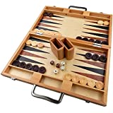Duboce Inlaid Walnut, Beech, Sapele, and Bass Wood Backgammon Board Game - 17 Inch Set (Large)