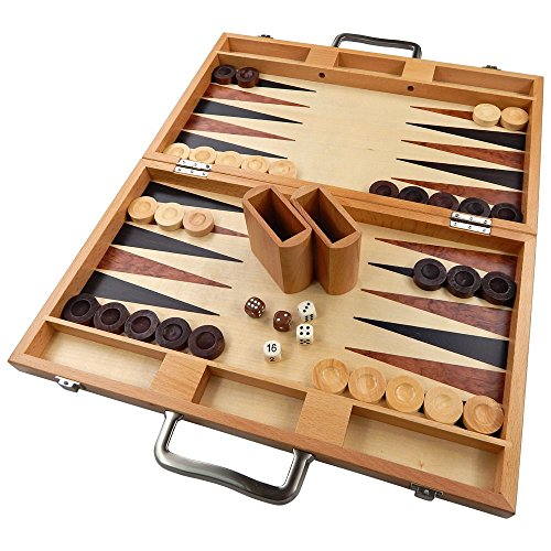 (Duboce Inlaid Walnut, Beech, Sapele, and Bass Wood Backgammon Board Game - 17 Inch Set (Large))