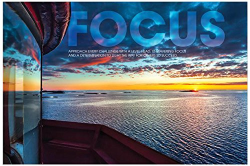 Wood Mounted, 20''x32'' - Focus Lighthouse Motivational Art by Successories