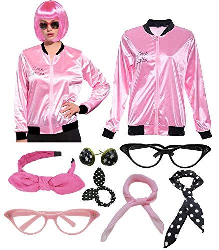 Women 1950s Plus Size Grease Pink Satin Ladies