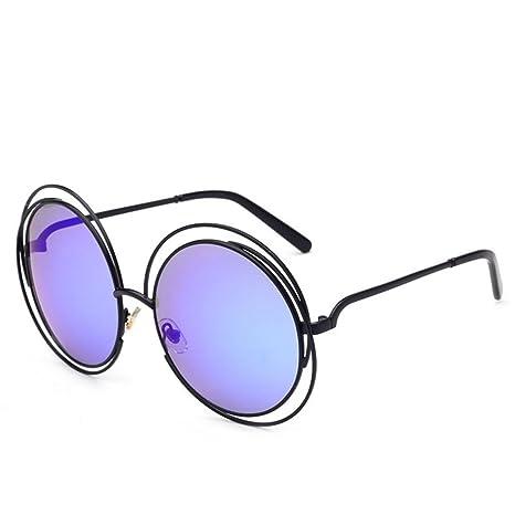 Occhiali da sole da donna da uomo con montatura rotonda in metallo con montatura rotonda di grandi dimensioni ( Color : Blue , Dimensione : One size )