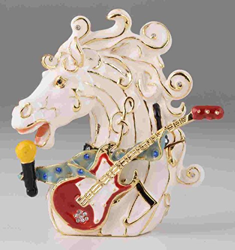 Keren Kopal White Horse Head with Guitar Faberge Styled Trinket Box Handmade Decorated with Swarovski Crystals