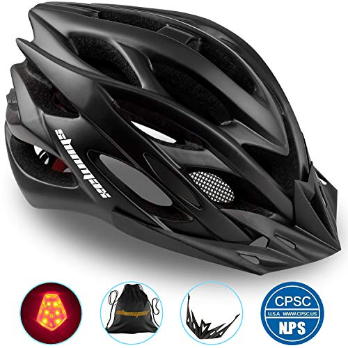 Basecamp Specialized Bike Helmet, Bicycle Helmet CPSC&CE Certified with Helmet Accessories-LED Light&Removable Visor&Portable Bag Cycling Helmet BC-DDTK Adjustable for Men/Women(Black) (Specialized Mountain Helmet)