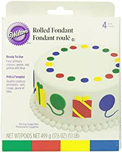 Wilton Rolled Fondant, Multi Pak, Primary Colors: Green, Red, Yellow, Blue. Each Color: 4.4 oz.