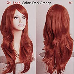 Women Long Wavy Cosplay Wig Brown Heat Resistant Fiber Natural Synthetic Hair Full Head Wig Ombre Party For Black Women dark orange 24inches