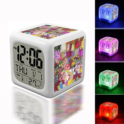 Wake Up Alarm Thermometer Night Glowing Cube 7 Colors Clock LED for Bedroom&Table,School Desk Customize- 243. petal, bloom, floral, pattern, colourful, color, autumn,