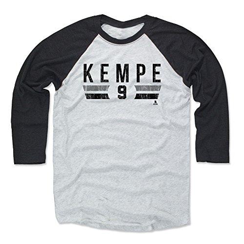 (500 LEVEL Adrian Kempe Baseball Shirt XX-Large Black/Ash - Los Angeles Hockey Fan Apparel - Adrian Kempe Los Angeles Font K)