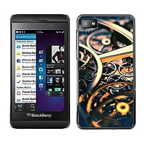Caucho caso de Shell duro de la cubierta de accesorios de protección BY RAYDREAMMM - Blackberry Z10 - Time Clock Gold Gears Engineering