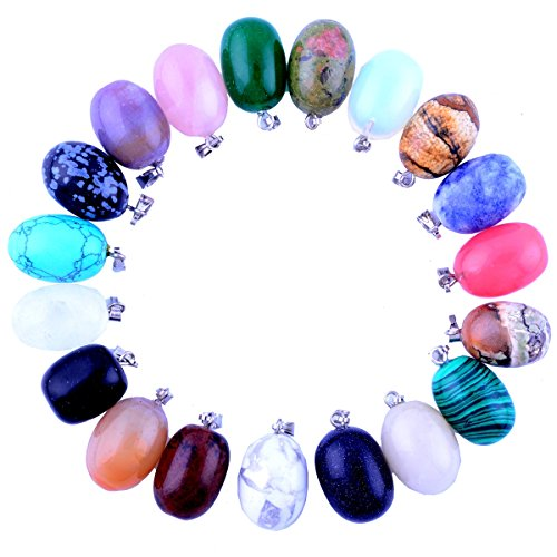 20pcs Egg Shape WaterDrop Healing Chakra Charm Beads Crystal Quartz Stone Random Color Pendants for Necklace Jewelry Making