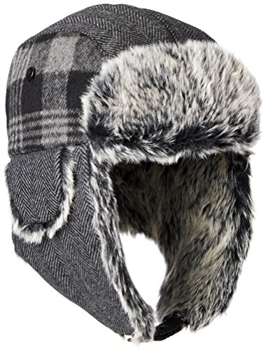 Dockers Men's Plaid and Herringbone Mixed Media Trapper Cap with Faux Fur Lining, Charcoal, SMALL/MEDIUM