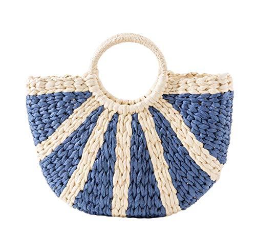 Straw Handbag for Women Handmade Straw Tote Bag Handle SummerBag,Women Individual Straw Oval Bag for Travel,Daily Use