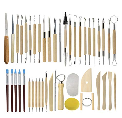 Ceramic Clay Tools, 45PCS Pottery Sculpting Tools Set for Beginners Professional Art Crafts, Wood and Steel, Schools and Home Safe for Kids, by Augernis