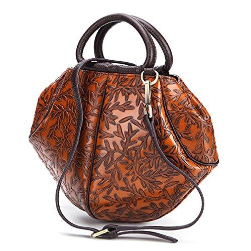 Embossed Leather Bag Shoe (Women Crossbody Purse, Brenice Vintage Genuine Leather Handbag Embossed Shoulder Messenger Bag Yellow 4.33''x 2.75''x 7.87''(LxWxH))