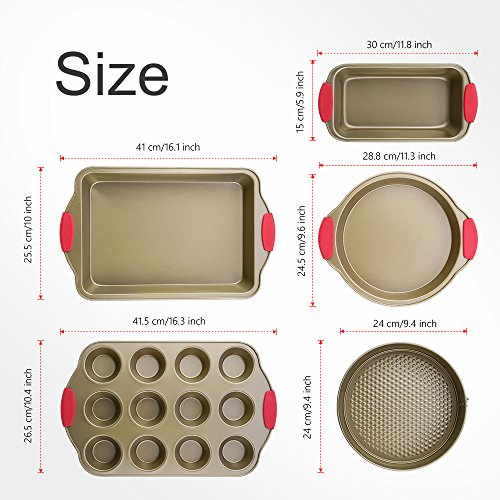 Bakeware Set, Kitchen Komforts 5-Piece Non-Stick Baking Pan Set with Silicone Handle Grips, Carbon Steel