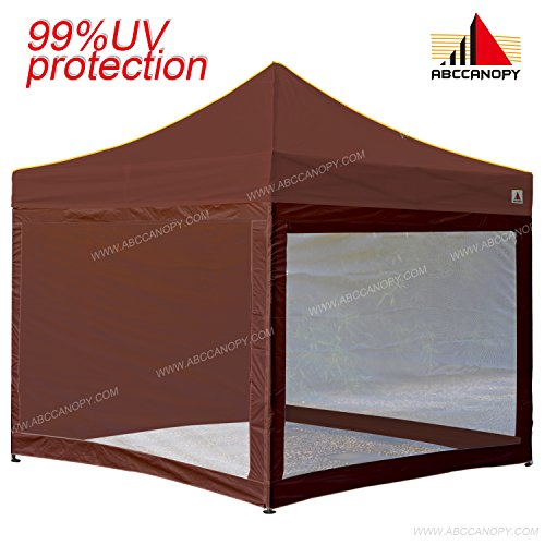 ABCCANOPY (18+colors) 10×10 Easy Pop up Commmercial Canopy Tent with Matching White Mesh Walls Bonus Rolly Carry Bag and 4x Weight Bag (brown)