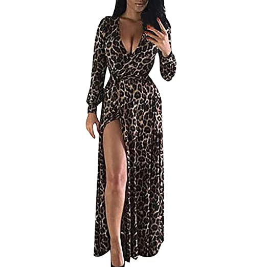 5c07ad7d6fd Ghazzi Women Dresses Long Sleeve Sexy V-Neck Leopard Split Hem Maxi Dress  Party Evening Swing Dress Clearance at Amazon Women s Clothing store