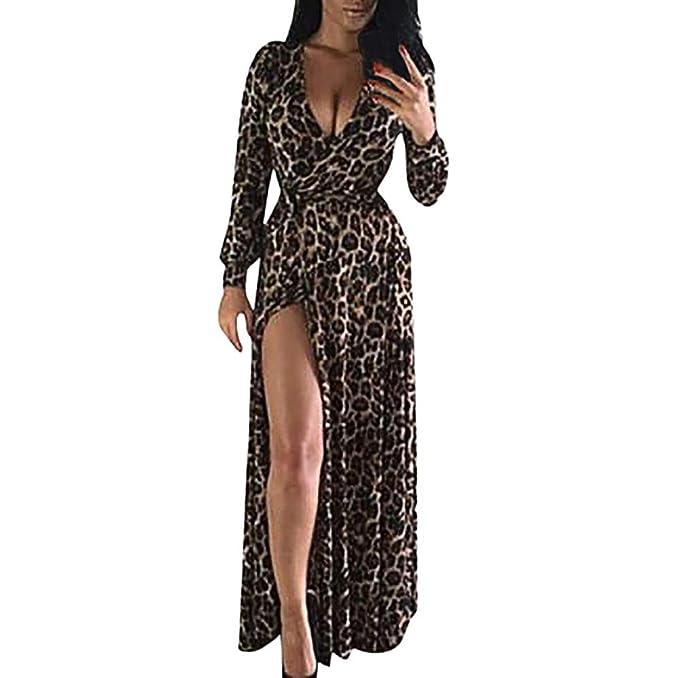 ZODOF Vestidos Mujer Leopardo Impreso Vestido de Largo Maxi Falda ...