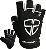 Steel Sweat Workout Gloves - Best for Gym, Weightlifting, Fitness, Training and Crossfit - Made for Men and Women who Love Weightlifting & Exercise – RUE Black XS